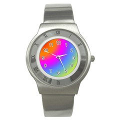 Radial Gradients Red Orange Pink Blue Green Stainless Steel Watch