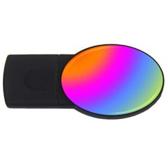 Radial Gradients Red Orange Pink Blue Green Usb Flash Drive Oval (4 Gb)