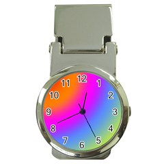 Radial Gradients Red Orange Pink Blue Green Money Clip Watches