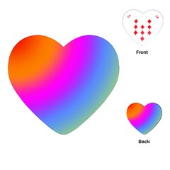 Radial Gradients Red Orange Pink Blue Green Playing Cards (heart)