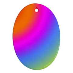 Radial Gradients Red Orange Pink Blue Green Oval Ornament (two Sides)