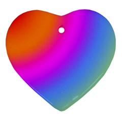 Radial Gradients Red Orange Pink Blue Green Heart Ornament (2 Sides)
