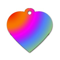 Radial Gradients Red Orange Pink Blue Green Dog Tag Heart (two Sides)