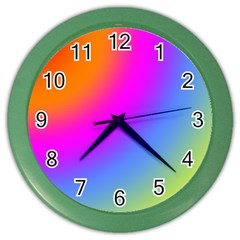 Radial Gradients Red Orange Pink Blue Green Color Wall Clocks