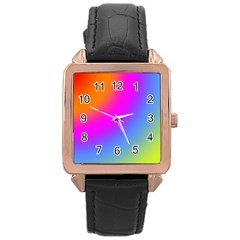 Radial Gradients Red Orange Pink Blue Green Rose Gold Leather Watch