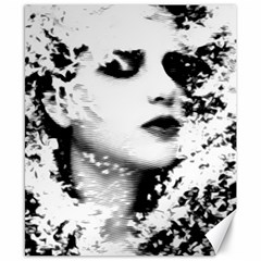 Romantic Dreaming Girl Grunge Black White Canvas 8  X 10