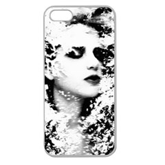 Romantic Dreaming Girl Grunge Black White Apple Seamless Iphone 5 Case (clear)