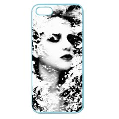 Romantic Dreaming Girl Grunge Black White Apple Seamless Iphone 5 Case (color)
