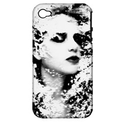 Romantic Dreaming Girl Grunge Black White Apple Iphone 4/4s Hardshell Case (pc+silicone)