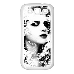 Romantic Dreaming Girl Grunge Black White Samsung Galaxy S3 Back Case (white)