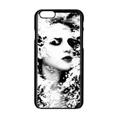 Romantic Dreaming Girl Grunge Black White Apple Iphone 6/6s Black Enamel Case