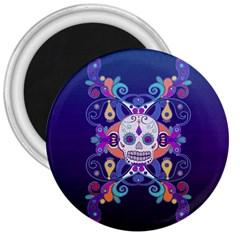 Día De Los Muertos Skull Ornaments Multicolored 3  Magnets