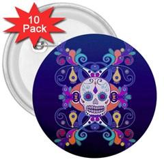 Día De Los Muertos Skull Ornaments Multicolored 3  Buttons (10 Pack)