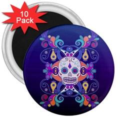 Día De Los Muertos Skull Ornaments Multicolored 3  Magnets (10 Pack)