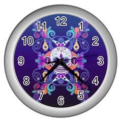 Día De Los Muertos Skull Ornaments Multicolored Wall Clocks (silver)