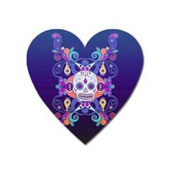 Día De Los Muertos Skull Ornaments Multicolored Heart Magnet