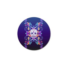 Día De Los Muertos Skull Ornaments Multicolored Golf Ball Marker