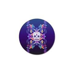 Día De Los Muertos Skull Ornaments Multicolored Golf Ball Marker