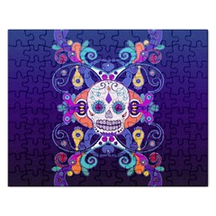 Día De Los Muertos Skull Ornaments Multicolored Rectangular Jigsaw Puzzl