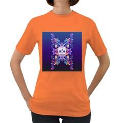 Día De Los Muertos Skull Ornaments Multicolored Women s Dark T Shirt