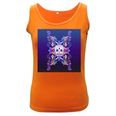 Día De Los Muertos Skull Ornaments Multicolored Women s Dark Tank Top