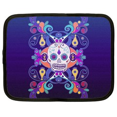 Día De Los Muertos Skull Ornaments Multicolored Netbook Case (large)