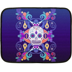 Día De Los Muertos Skull Ornaments Multicolored Fleece Blanket (mini)