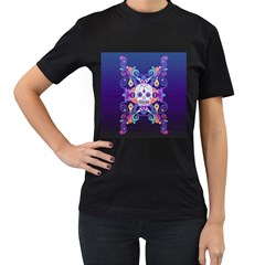 Día De Los Muertos Skull Ornaments Multicolored Women s T Shirt (black)