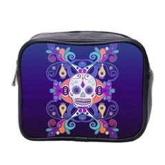 Día De Los Muertos Skull Ornaments Multicolored Mini Toiletries Bag 2 Side