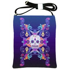 Día De Los Muertos Skull Ornaments Multicolored Shoulder Sling Bags