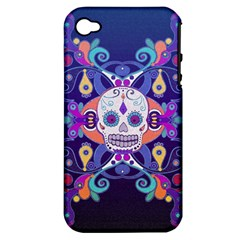 Día De Los Muertos Skull Ornaments Multicolored Apple Iphone 4/4s Hardshell Case (pc+silicone)