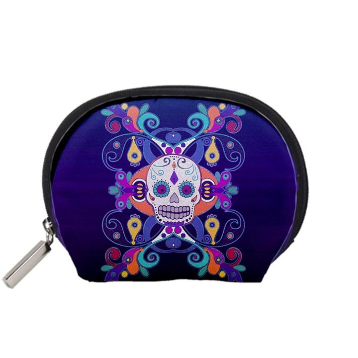 Día De Los Muertos Skull Ornaments Multicolored Accessory Pouches (Small)