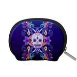 Día De Los Muertos Skull Ornaments Multicolored Accessory Pouches (Small)  Back