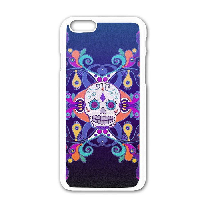 Día De Los Muertos Skull Ornaments Multicolored Apple iPhone 6/6S White Enamel Case