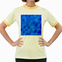 Simple blue Women s Fitted Ringer T-Shirts