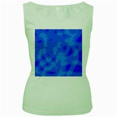 Simple blue Women s Green Tank Top