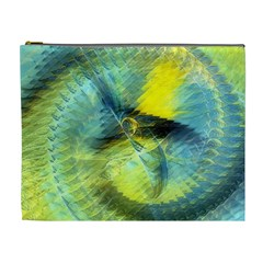 Light Blue Yellow Abstract Fractal Cosmetic Bag (xl)