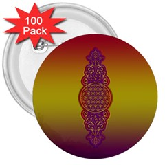 Flower Of Life Vintage Gold Ornaments Red Purple Olive 3  Buttons (100 Pack)