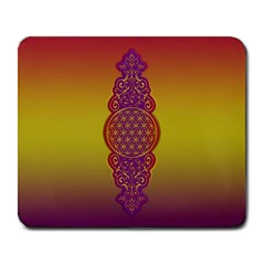 Flower Of Life Vintage Gold Ornaments Red Purple Olive Large Mousepads