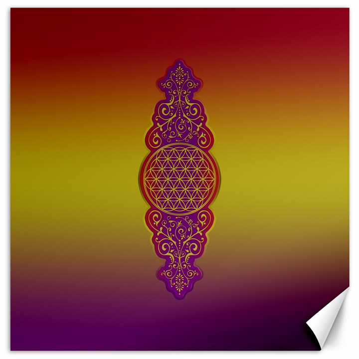 Flower Of Life Vintage Gold Ornaments Red Purple Olive Canvas 16  x 16