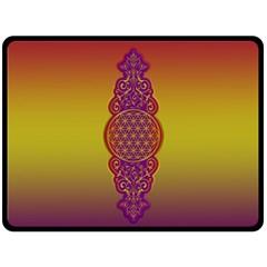 Flower Of Life Vintage Gold Ornaments Red Purple Olive Fleece Blanket (large)