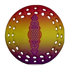 Flower Of Life Vintage Gold Ornaments Red Purple Olive Round Filigree Ornament (2side)