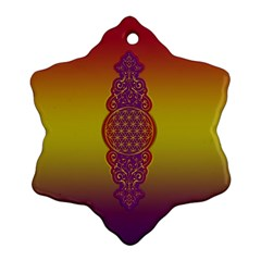 Flower Of Life Vintage Gold Ornaments Red Purple Olive Snowflake Ornament (2 Side)