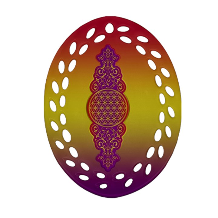 Flower Of Life Vintage Gold Ornaments Red Purple Olive Oval Filigree Ornament (2-Side)