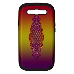 Flower Of Life Vintage Gold Ornaments Red Purple Olive Samsung Galaxy S Iii Hardshell Case (pc+silicone)