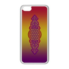 Flower Of Life Vintage Gold Ornaments Red Purple Olive Apple Iphone 5c Seamless Case (white)