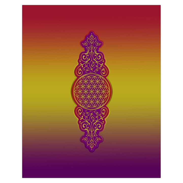 Flower Of Life Vintage Gold Ornaments Red Purple Olive Drawstring Bag (Small)