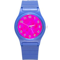 Simple pink Round Plastic Sport Watch (S)