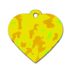 Simple yellow Dog Tag Heart (Two Sides)