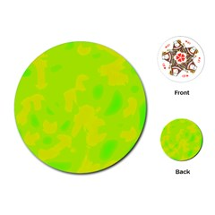 Simple yellow and green Playing Cards (Round)